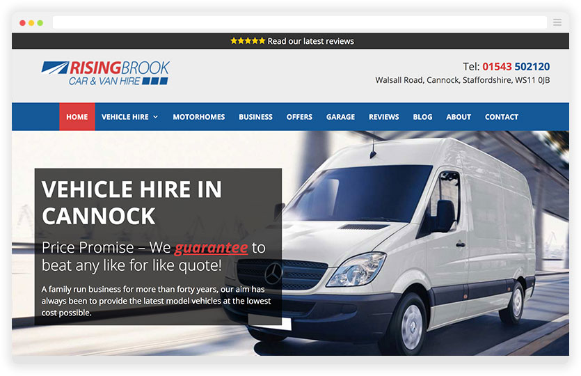 Vehicle Hire Monthly Web Design